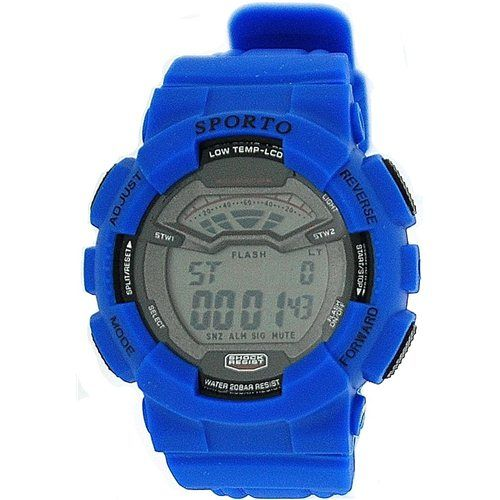 Sporto London Boys-Gents Disco Light Digital Chrono Blue Silicone Strap Watch