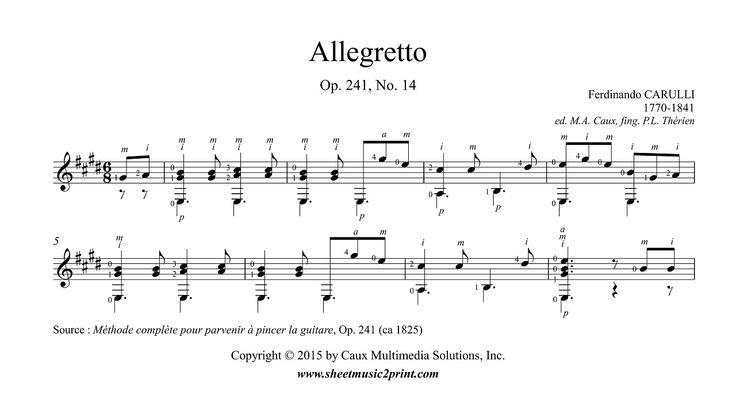 Carulli : Allegretto Op. 241, No. 14 http://www.sheetmusic2print.com/Carulli/Allegretto-241-14.aspx