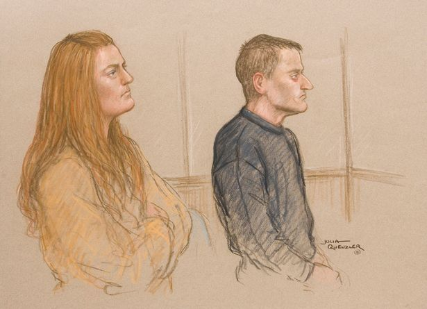 Court drawing of Karen Mathews and Michael Donovan