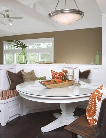 White glass-topped table - would love this for the dining room eventually #FishbowlReno
