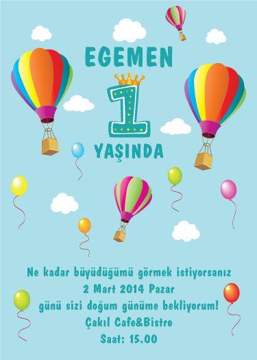 Uçan balon temalı doğum günü davetiyesi