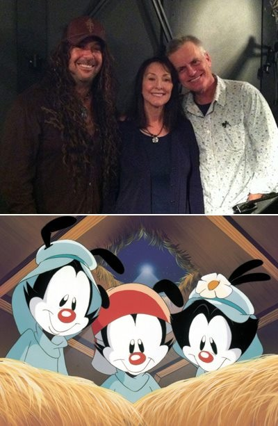 """Via The Hub TV Network - Rock Sugar lead singer Jess Harnell, Tress MacNeille and Rob Paulsen:  """"The voices behind the Animaniacs reunited to record this promo for tomorrow's debut on The Hub's weekday lineup!"""" http://www.youtube.com/watch?v=EZDlztUAS3c"""