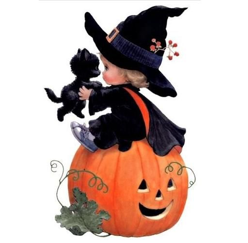 cute halloween clip art girl witch with black kitten sitting on top a smiling pumpkin - Cute Halloween Witches