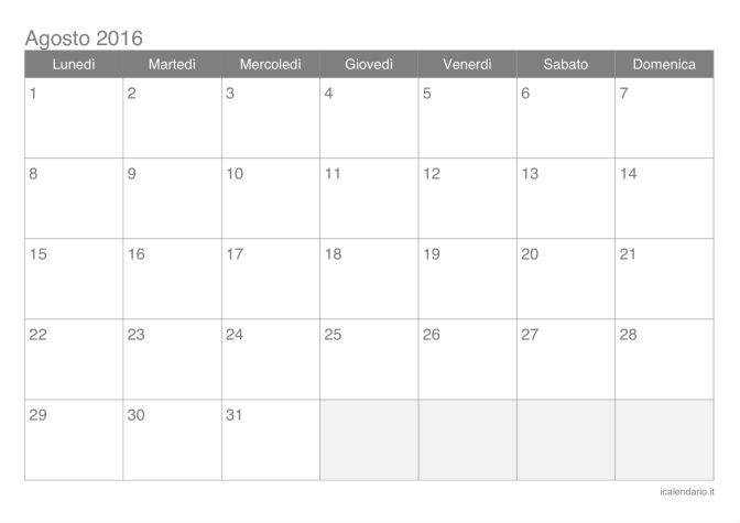 Calendario di agosto 2016