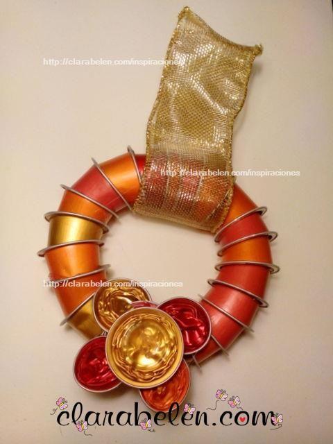 Corona de Navidad con Cápsulas Nespresso recicladas - Inspiraciones: manualidades y reciclaje