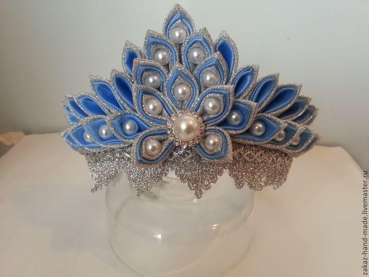 Купить Корона для снегурочки - голубой, корона, диадема, снегурочка, новогодняя, канзаши, handmade, для фотосессии