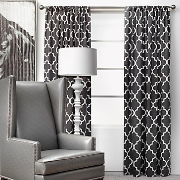 Black and white geometric curtains these would look great in my bedroom