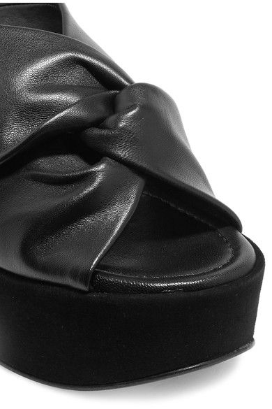 Robert Clergerie - Esther Knotted Leather And Suede Platform Mules - Black - IT41.5
