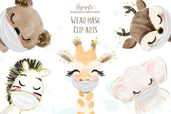 Animals Wear Mask Cliparts Mask Animals Animal Clipart