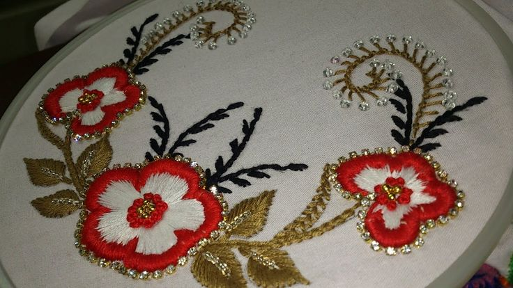 Hand embroidery . carding satin stitch with decoration for dresses, sare...
