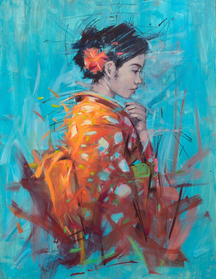 'Kimono I' 36ins by 28ins oil on canvas by Jamel Akib