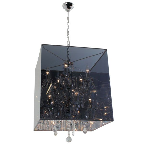 Eurolux CH222 - 10 Light In and Out Chrome Square Chandelier with Adjustable Chain Suspension