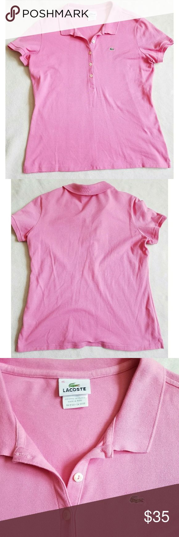Lacoste pink polo Lacoste pink polo, size 46 ladies, measurements are APPROXIMATE in inches: Bust 19, length 24. EUC. *My items are NOT from a smoke free home* Lacoste Tops