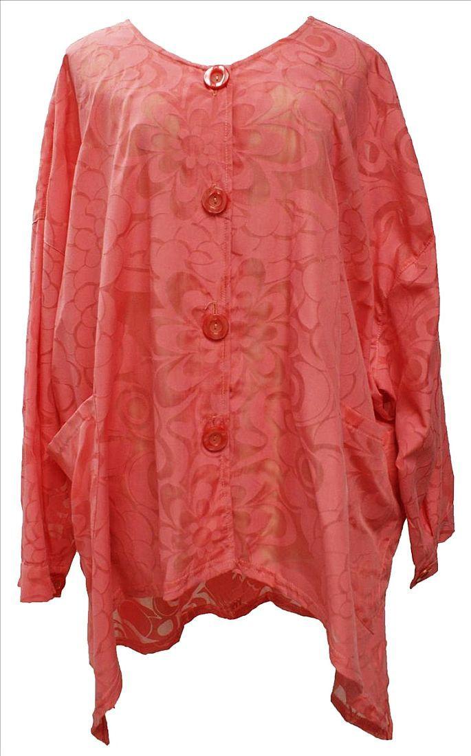 AKH Fashion Lagenlook Bluse Tunika in coralle XXL Mode bei www.modeolymp.lafeo.de