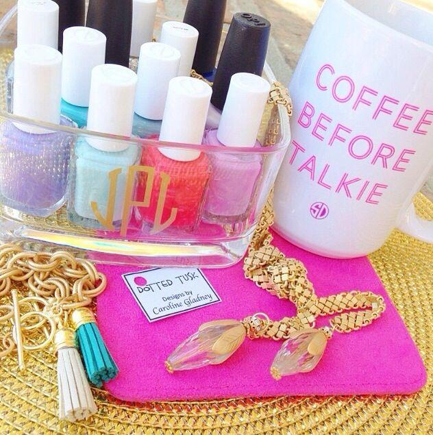 monogrammed nail polish organizer!