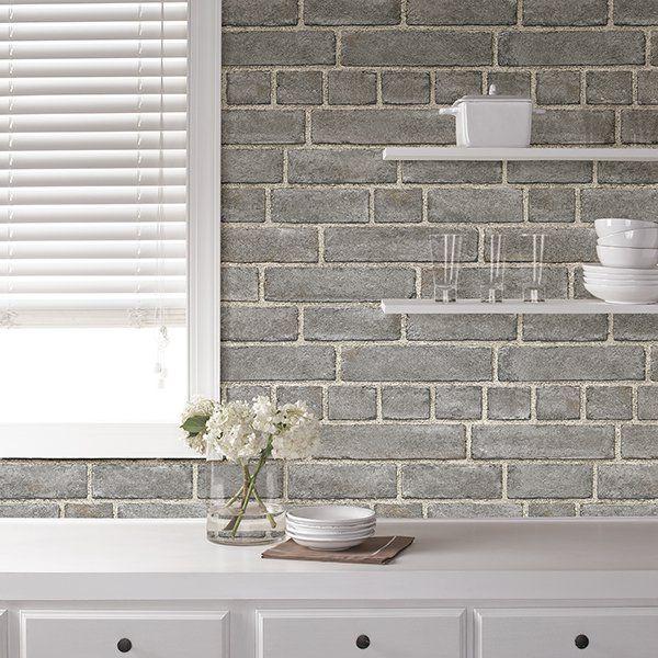 Nuwallpaper Grey Brick Facade Peel Stick Wallpaper Walmart Com In 2021 Brick Feature Wall Kitchen Backsplash Peel And Stick Grey Brick