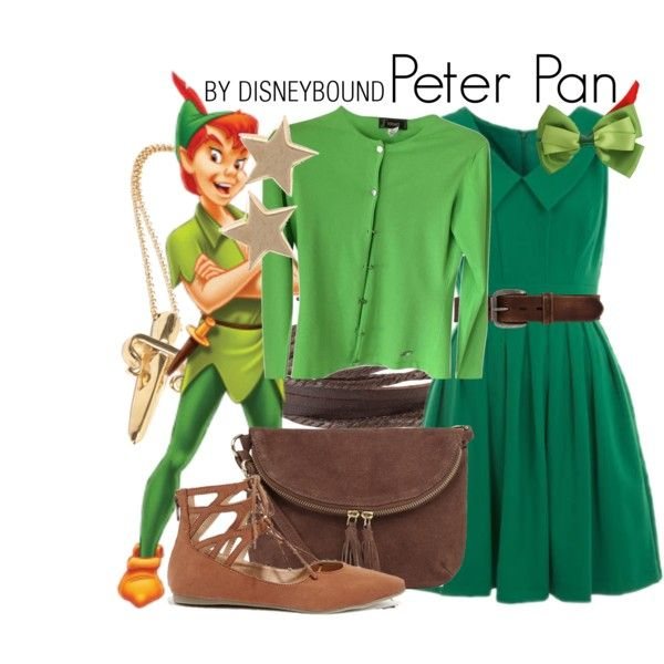 Peter Pan by leslieakay on Polyvore featuring Versace, Liliana, Warehouse, LeiVanKash, Ivy & Liv, Bed|Stu, Disney, disney, disneybound and disneycharacter