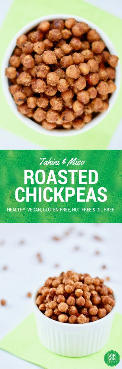 Tahini & Miso Roasted Chickpeas | WIN-WINFOOD.com Delicious #healthy snack! Also #vegan #glutenfree #oilfree