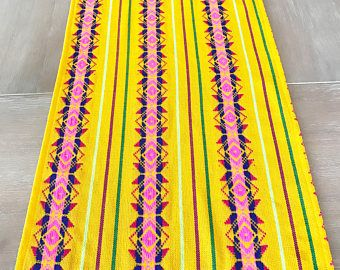 Mexican tablecloth, runner or napkins. Yellow embroidered Boho chic decor, Serape fabric, Southwestern table decor, hippie folk rebozo