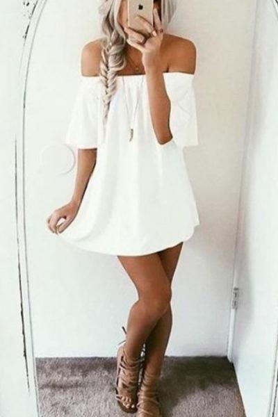 Off Shoulder Plain Short Sleeve Casual Dresses