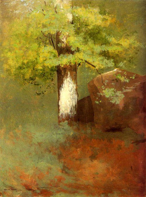 """Odilon Redon:  L'albero (1875) """"El árbol"""", 1875, óleo sobre papel colocado sobre tela, 32.5x25.5 cm."""