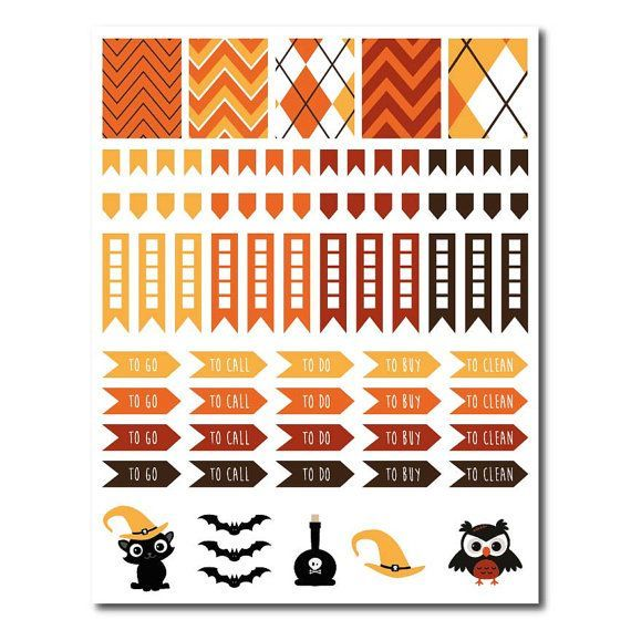 Halloween Planner Kit // 52 DieCut Stickers by PlannerStickers: