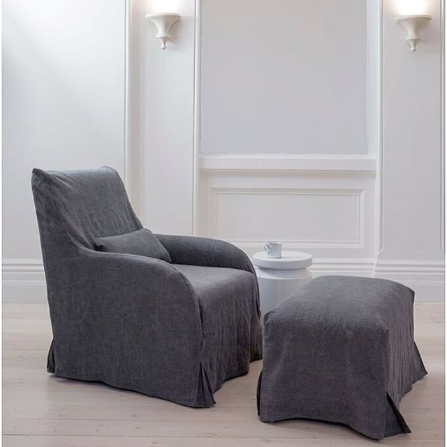 Introducing Our New Linen Slip Cover Bruhg Chair And Ottoman. The Perfect  Retreat Duo To