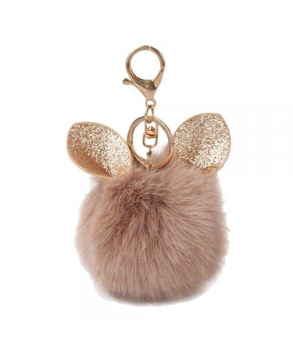 Ear Rabbit Fur Ball Fox Keychain Bag Plush Car Key Ring Car Key Pendant 8cm  - Coffee - C71867YQ4TO 571b3fbee