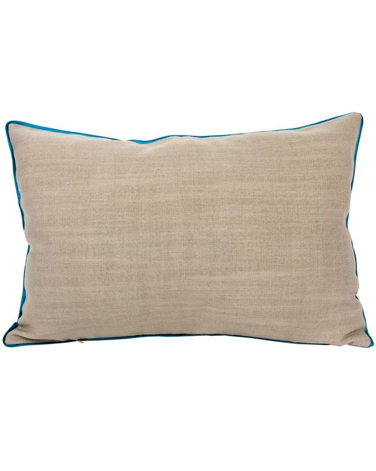 Beige cushion with turquoise border Beige linen pillowcase removed, turquoise piping. Very soft and pleasant to the touch.
