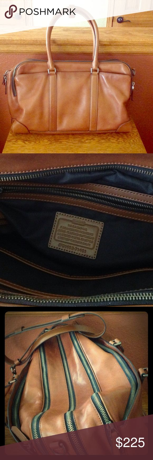 Coach travel bag Beautiful leather travel bag. Like new condition. The dimensions are 18 1/2 long 11 1/2 tall. There are 3 zippered compartments on top one on each side and one interior zipper.  Also has long shoulder strap. Can be used for business or travel. Coach Bags Travel Bags