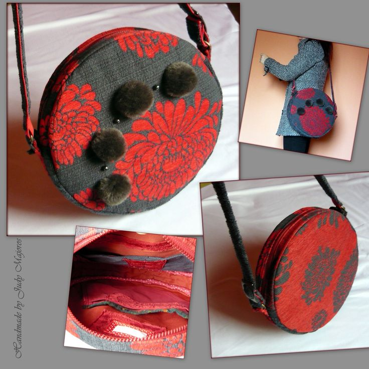 Handmade by Judy Majoros - Gray-red carpet round bag with pompoms.Shoulder bag. Crossbody bag.  Recycled bag