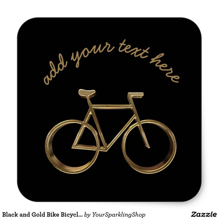 Black and Gold Bike #Bicycle Cycling Cyclist #Stickers