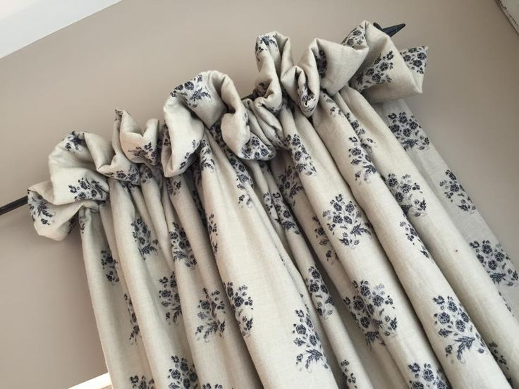Gorgeous cottage pleat curtains in Kate Forman Agnes Charcoal, seen in Kate Forman showroom but similar available from Victoria Clark Interiors.