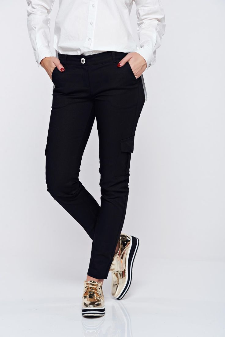 PrettyGirl casual conical with medium waist with pockets black trousers, button and zipper fastening, elastic fabric, front pockets, faux back pockets, medium waist