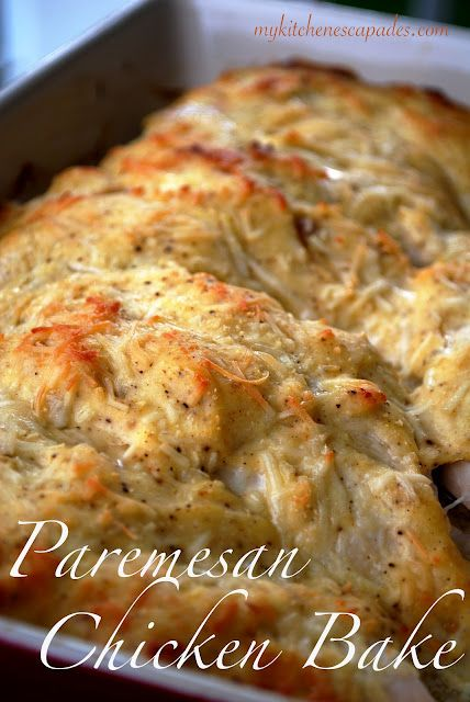 Parmesan Chicken Bake  6 chicken breasts  1 C light mayonaise or greek yogurt (I have done 1/2 of each as well)  1/2 c fresh parmesan cheese, plus more for the top  1 1/2 tsp seasoning salt  1/2 tsp pepper  1 tsp garlic powder