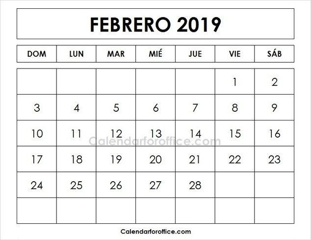 Imprimir Calendario 2019 Febrero Calendario Plantilla