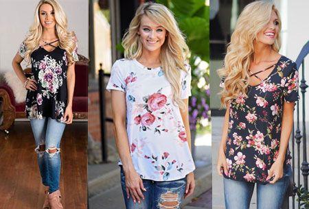Diverse bloemen tops nu super voordelig | Comfortabel en vrolijk shirt