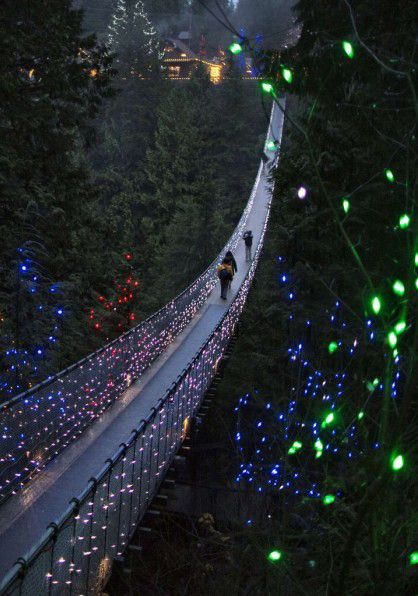 Capilano Suspension Bridge,British Columbia, Canada. The Capilano Suspension Bridge is a simple suspension bridge crossing the Capilano River in the District of North Vancouver, British Columbia, Canada. The current bridge is 140 metres (460 ft)[1] long and 70 metres (230 ft) above the river. It is part of a private facility, with an admission fee, and draws over 800,000 visitors a year.
