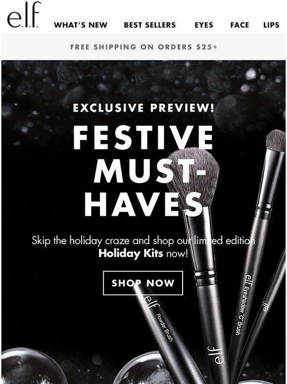 Milled has emails from Elf Cosmetics, including new arrivals, sales, discounts, and coupon codes.