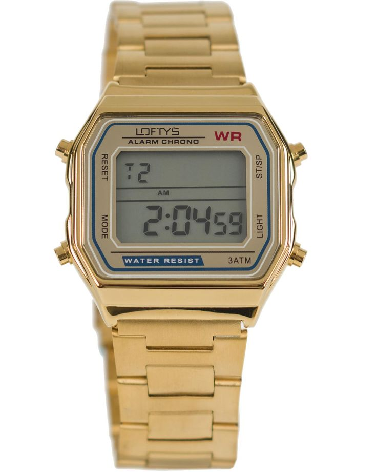 Classic Digital Watch with Gold Metal Bracelet Y 2004GL - https://www.loftyswatches.com/shop/classic-digital-watch-gold-metal-bracelet-y-2004gl/
