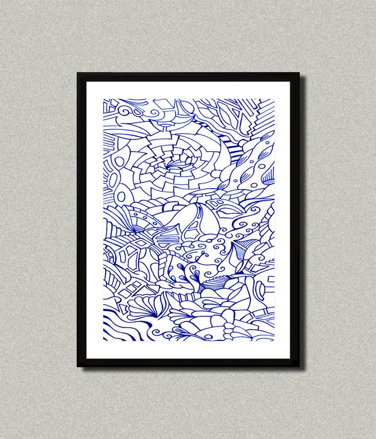 Blue 002, Abstract art print, Art poster, Modern art decor, Home decor, Wall art, Drawing art, Psychedelic Art Poster by WhitePaperArt on Etsy