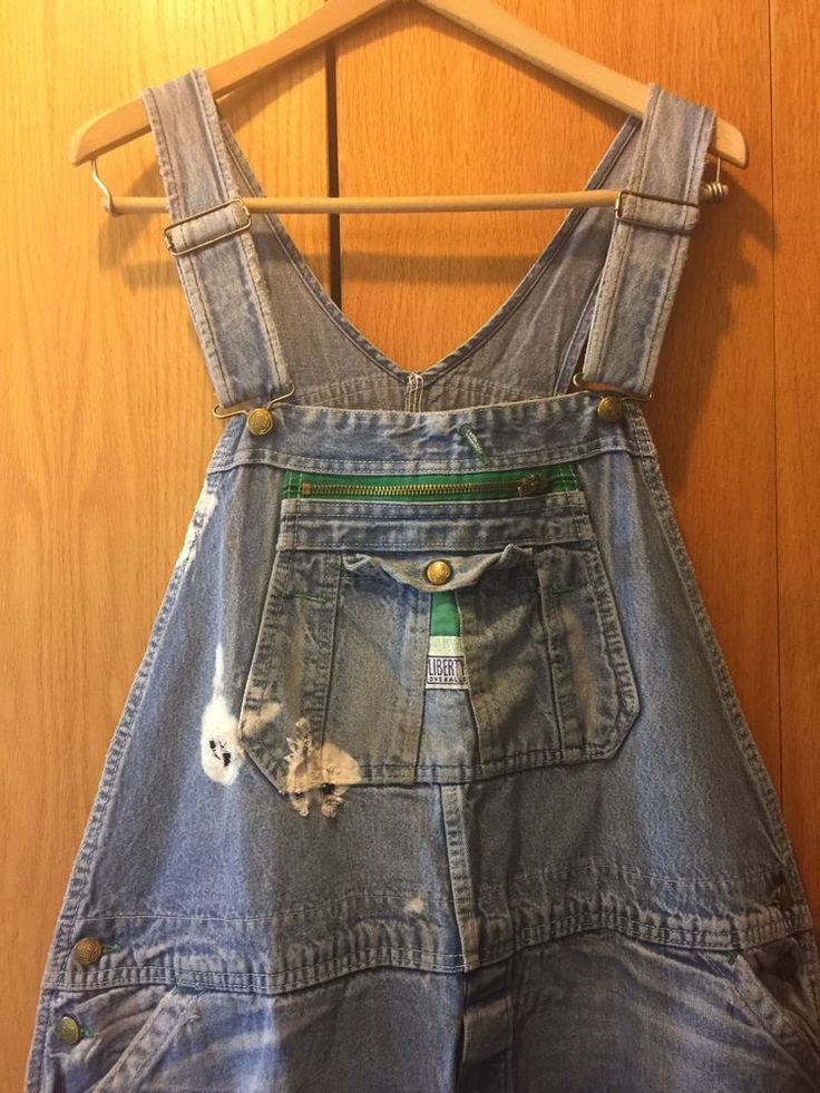 Liberty Men's Overalls Bib Design Patented Carpenter Work Denim Jeans Distressed  | eBay
