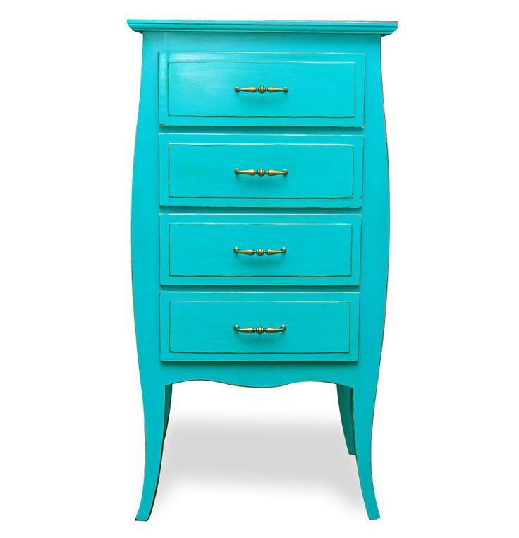 Mueble chifonier cajonera vintage estilo antiguo verde - Muebles estilo vintage ...