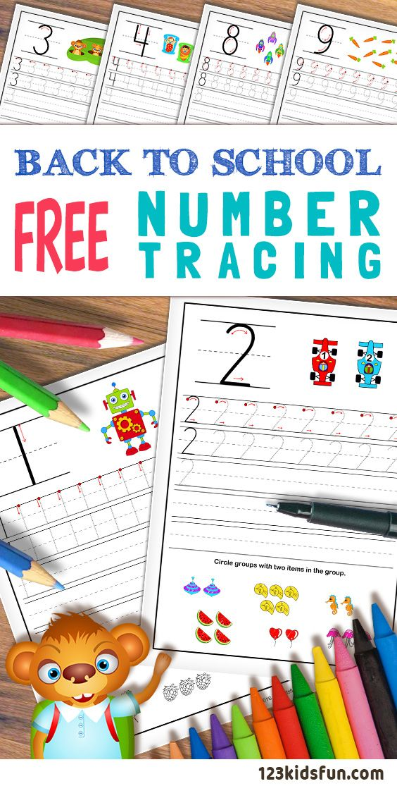 Printable number tracing worksheets for preschoolers. Learn to write the numbers from 0 to 9. #NumbersTracing #numbers #learn #worksheets #printables #kids #free #123kidsfun