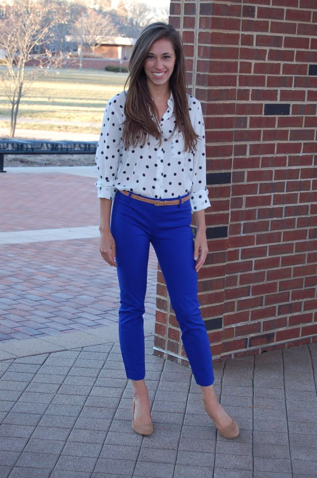 Polka dot shirt & bright blue pants