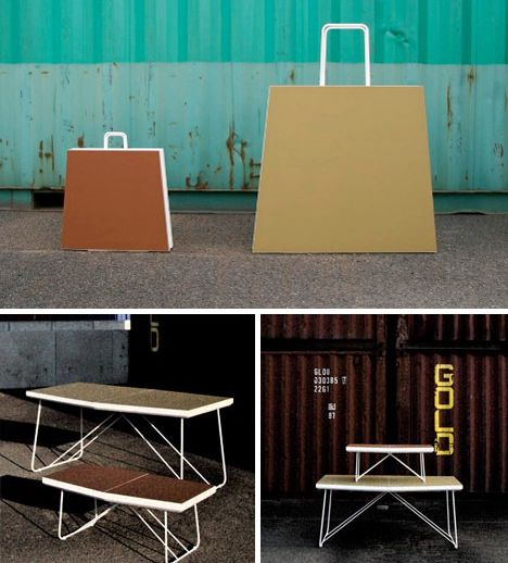 Handles on a fold-out table -- design for portability