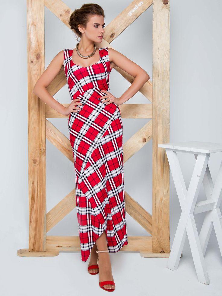 Długa #sukienka o dopasowanym kroju. Asymetrycznie skrojona. Piękna trzy kolorowa krata.