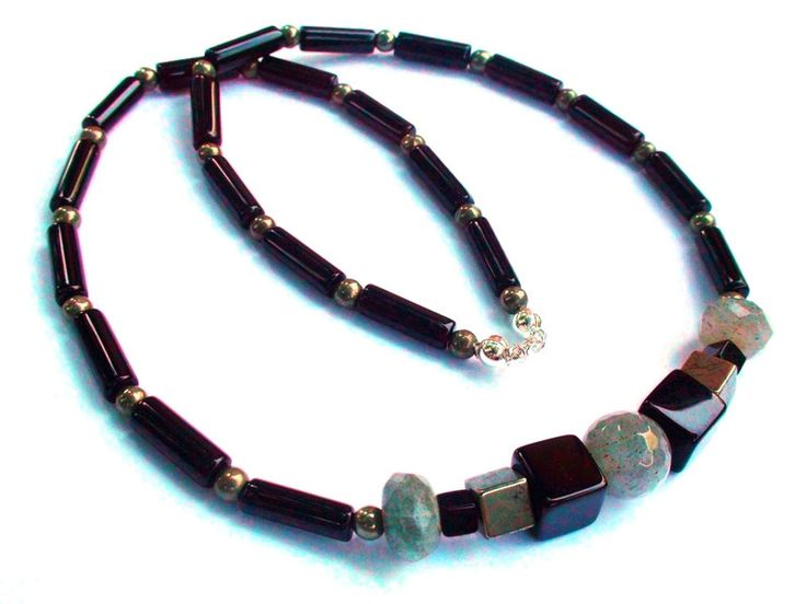 Mens Necklaces – Mens Necklace - Onyx,pyrite,labradorite,925 silver – a unique product by OlgaJewelryBoutique on DaWanda