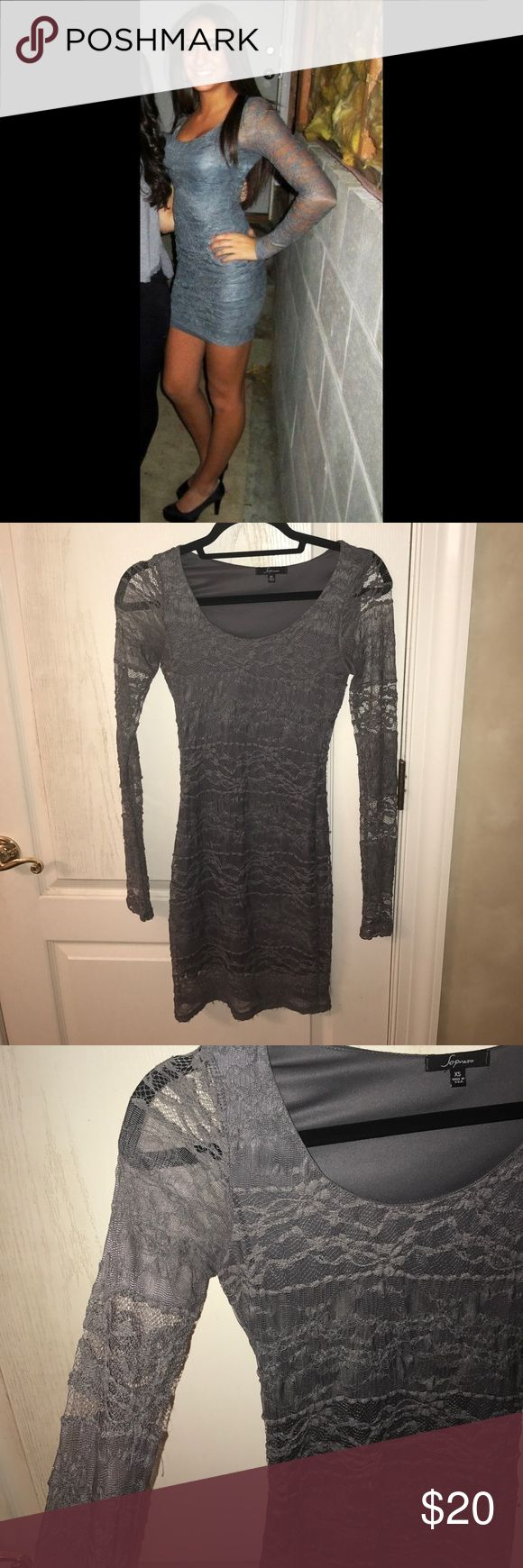 Lace Grey Long Sleeve Dress! This dress is perfect for any occasion. The sleeves are all lace. It is formfitting. No rips or stains. Looks brand new. Let me know if you have any other questions! Soprano Dresses Long Sleeve