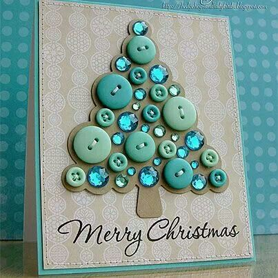 Christmas card made with buttons